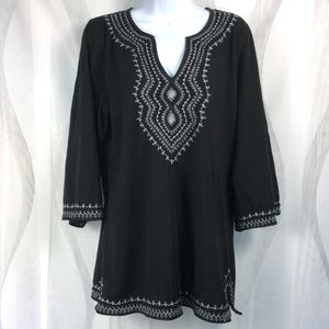 Lucky Brand Boho Top L Embroidered Tunic Cotton
